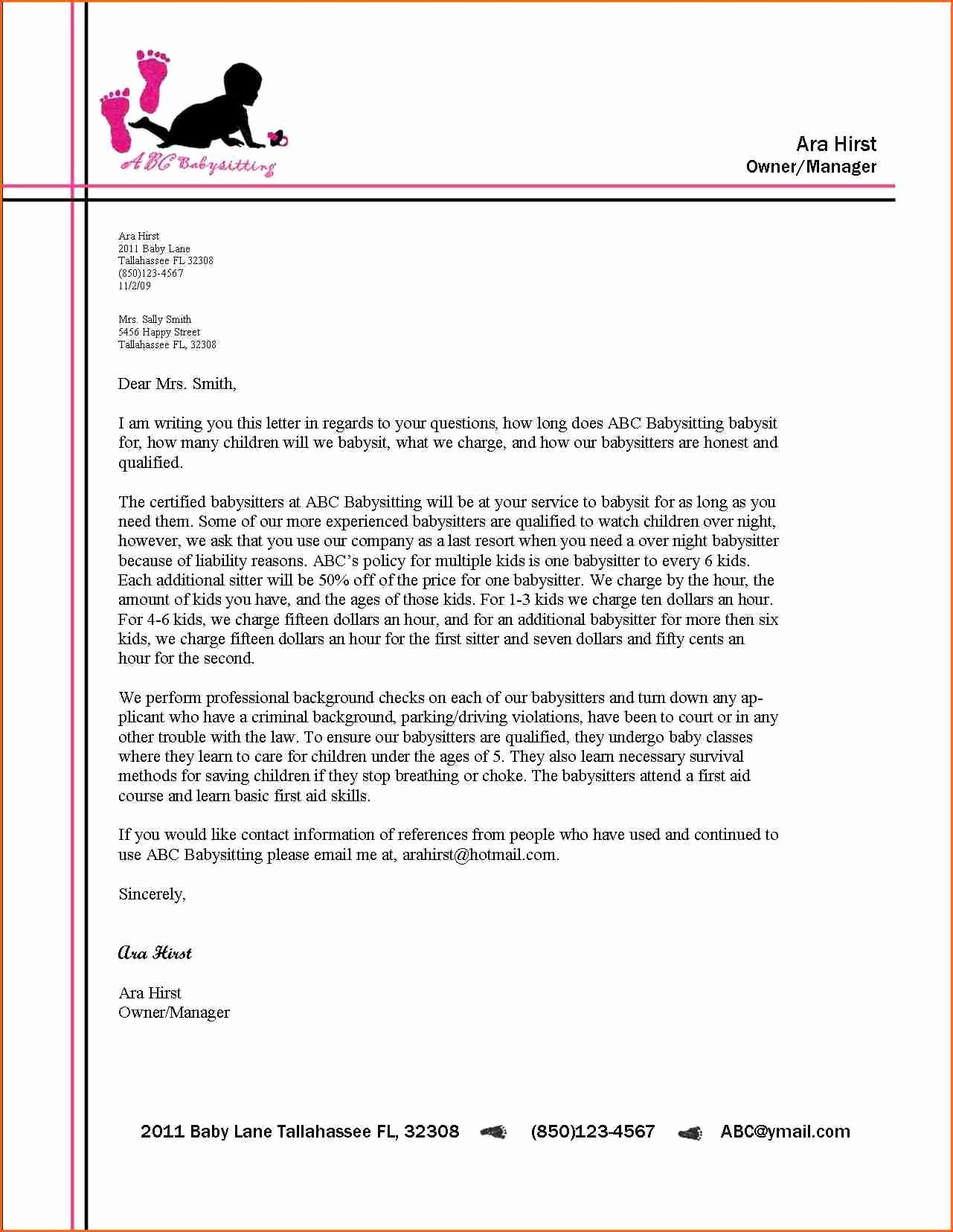 Format for A Business Letter Best Of Business Letter format Letterhead Example Alberta