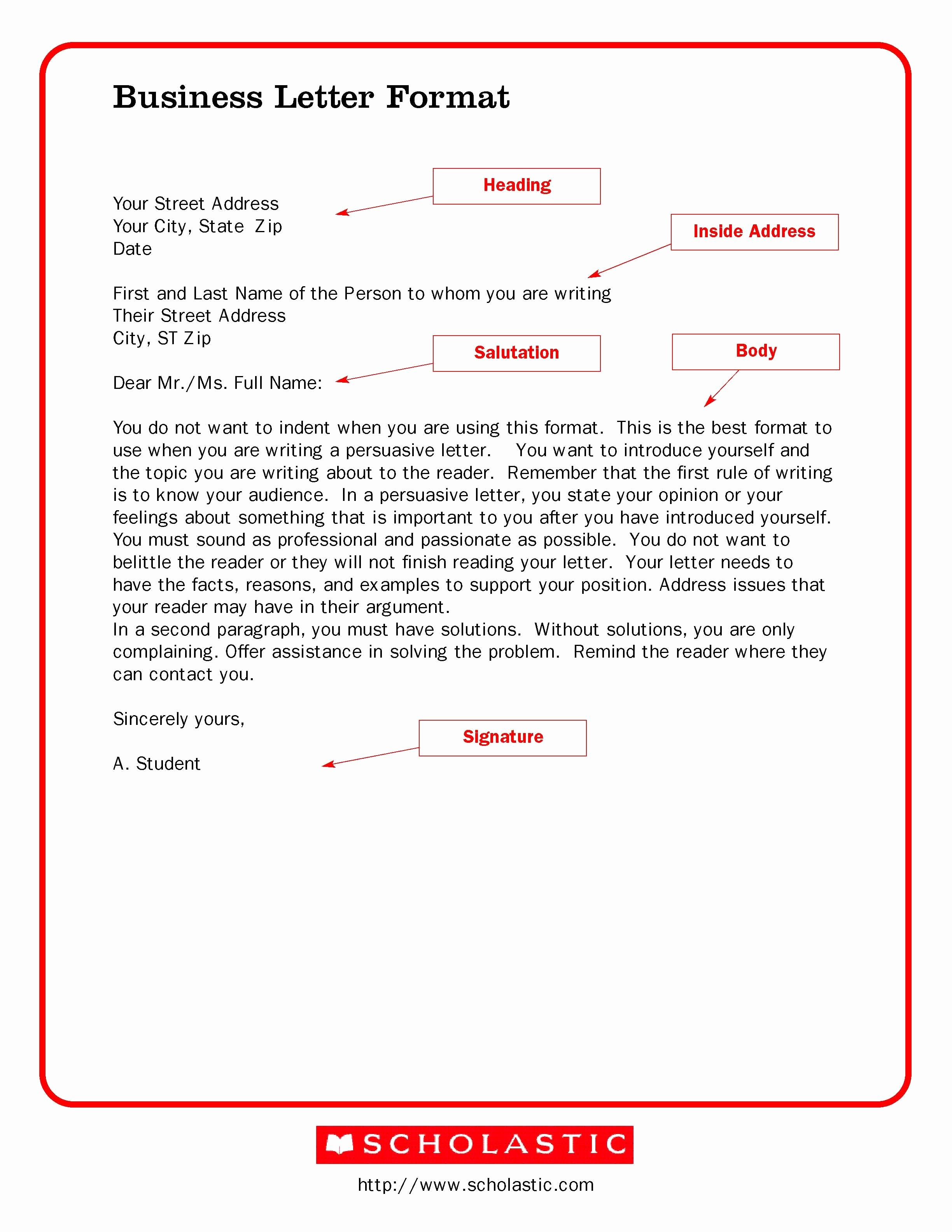 Format for A Business Letter Best Of Printable Sample Business Letter Template form