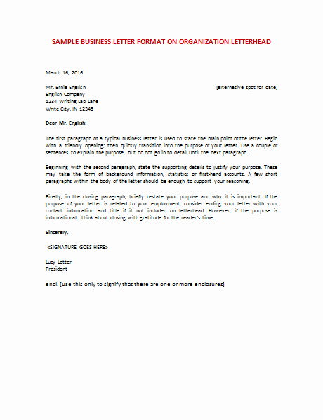 Format for A Business Letter Inspirational Business organization Letter format