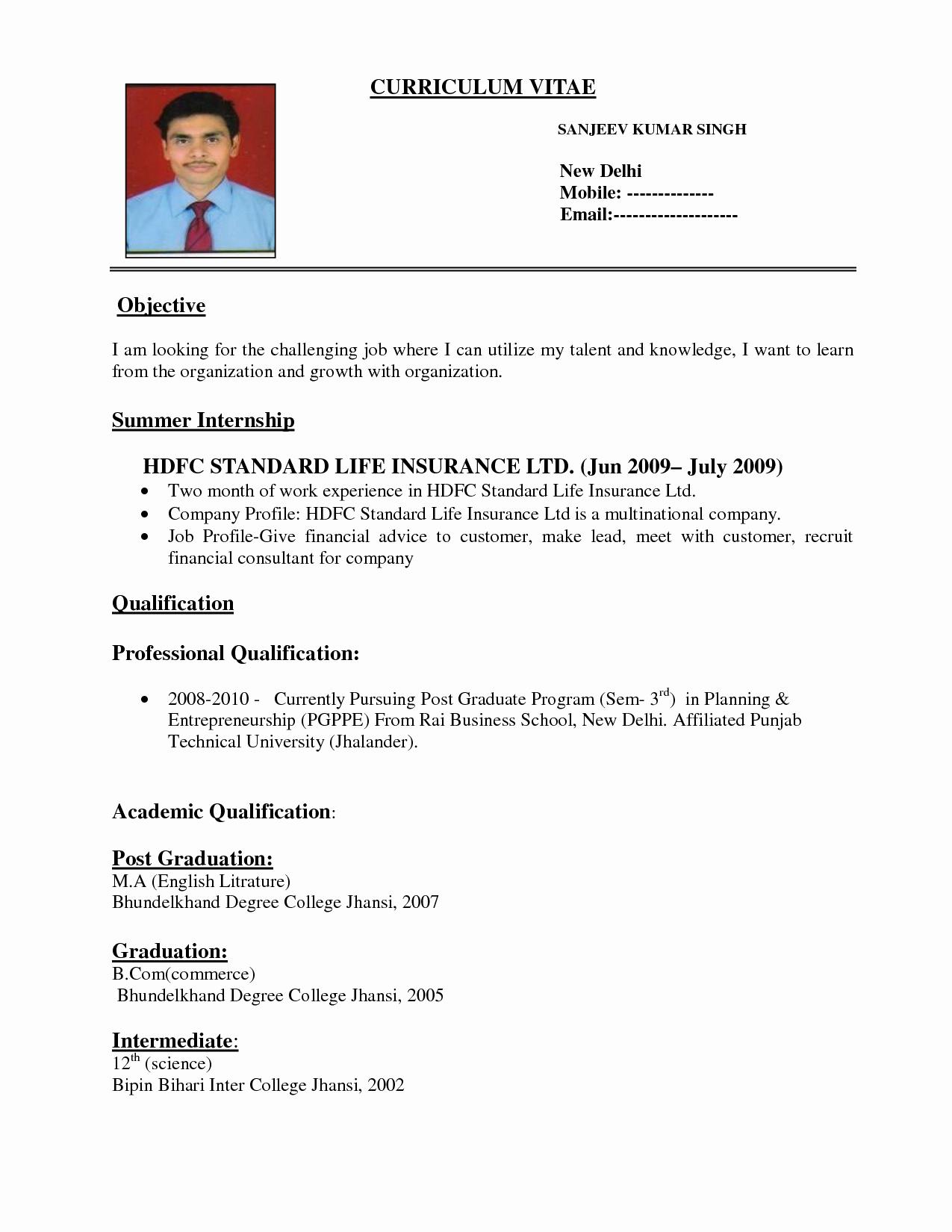 Format for Curriculum Vitae Awesome Curriculum Vitae format