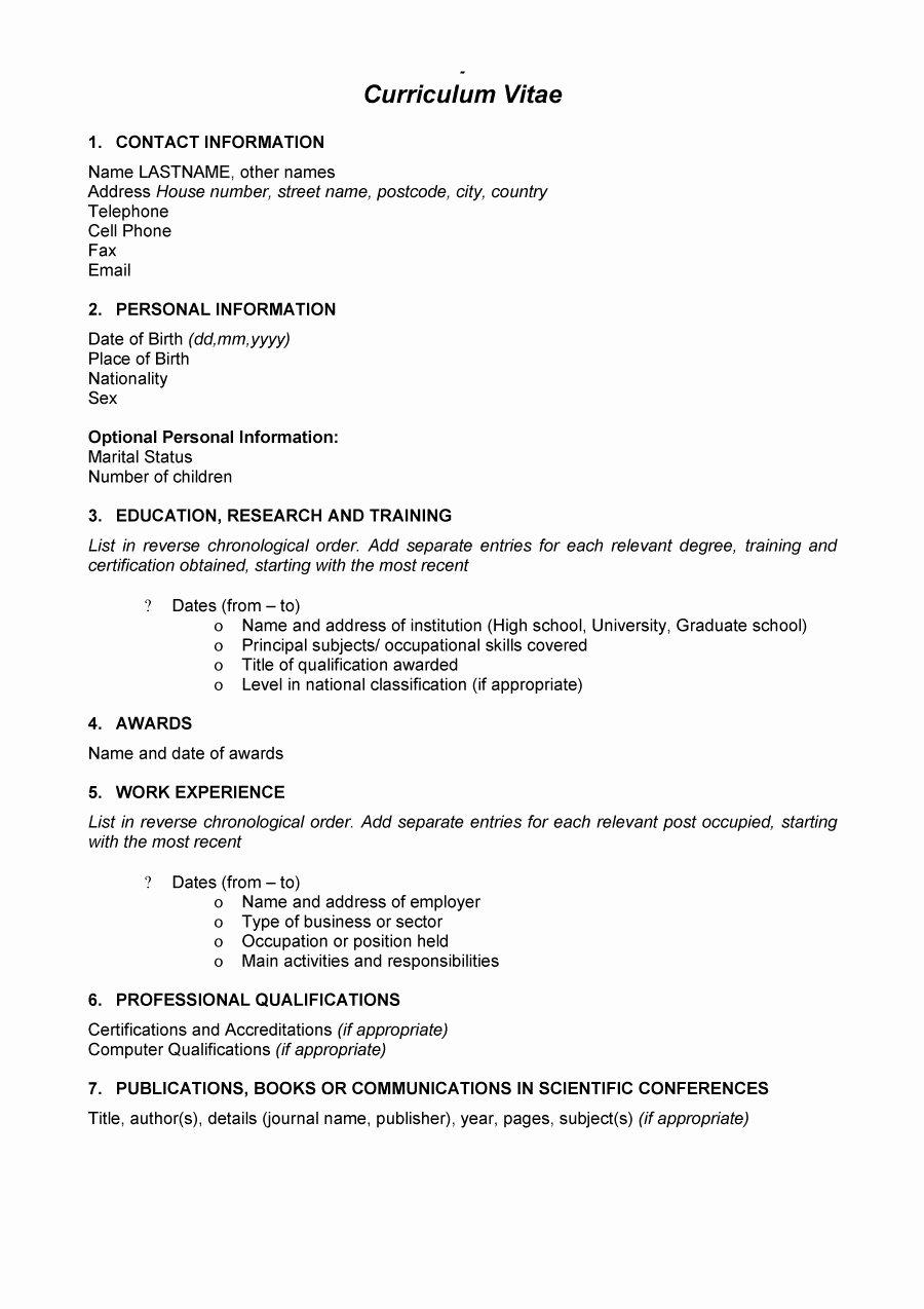 Format for Curriculum Vitae Inspirational 48 Great Curriculum Vitae Templates & Examples Template Lab