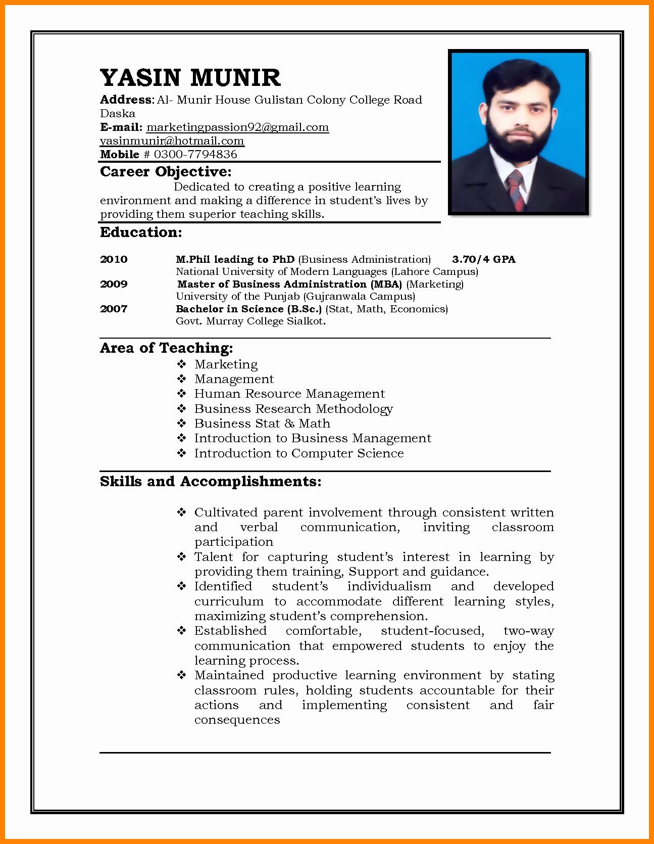 Format for Curriculum Vitae Inspirational 5 Cv format Teacher