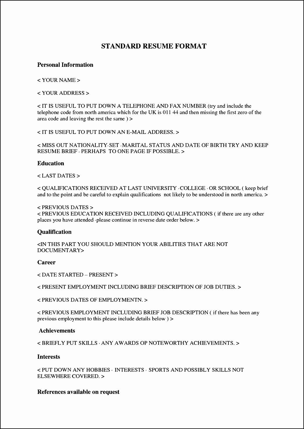 Format for Curriculum Vitae Luxury Standard Curriculum Vitae format