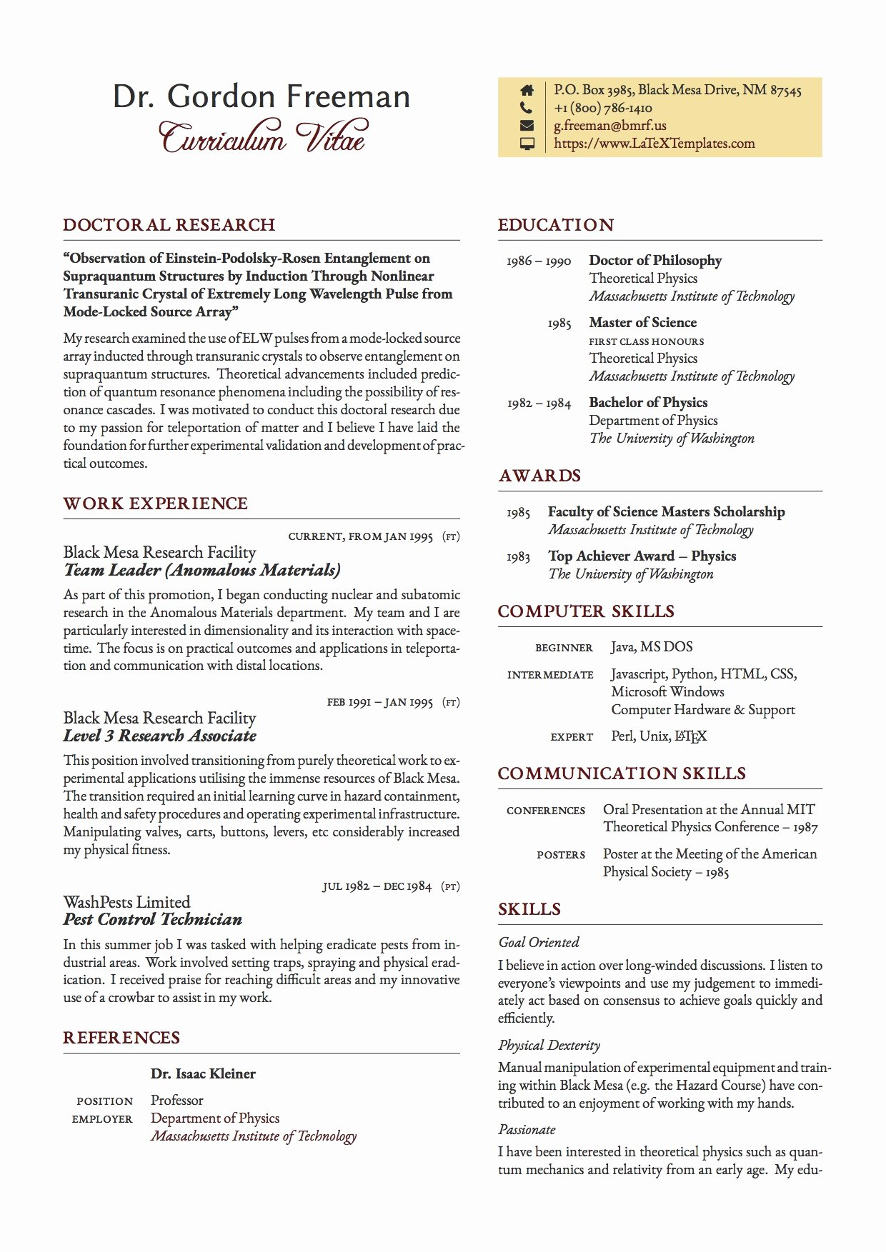 Format for Curriculum Vitae New Latex Templates Curricula Vitae Résumés