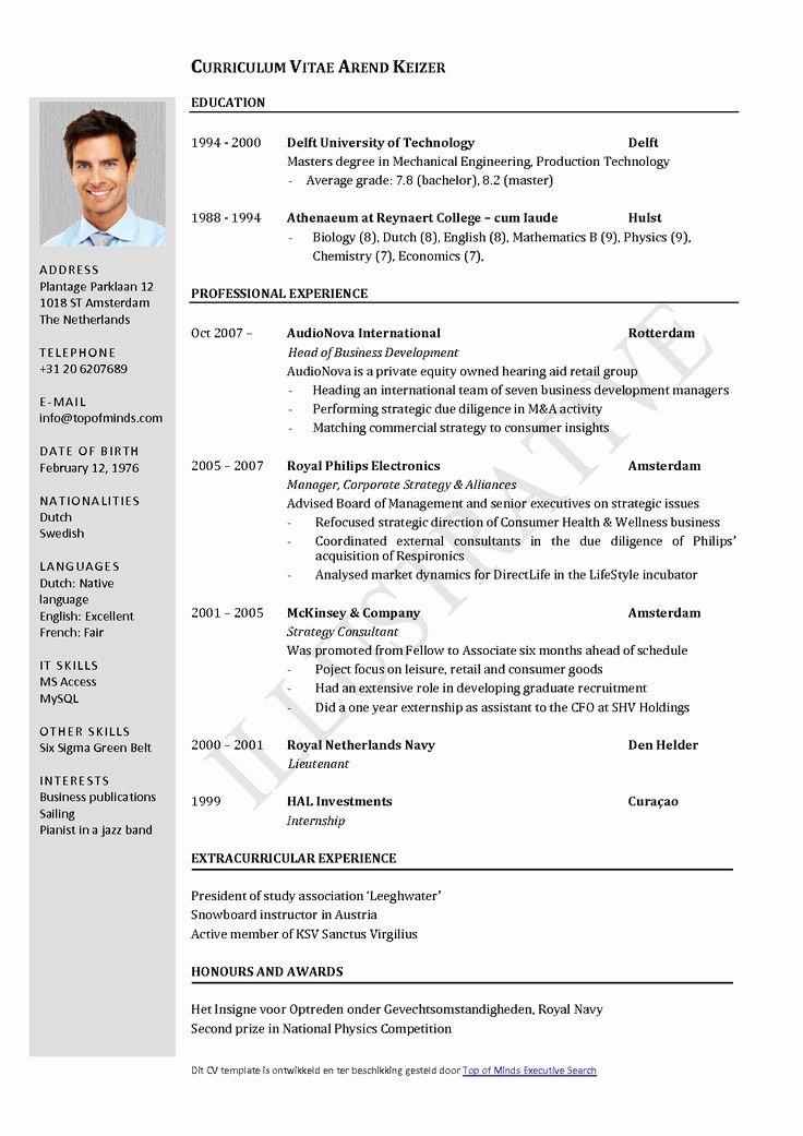 Format for Curriculum Vitae Unique Free Curriculum Vitae Template Word