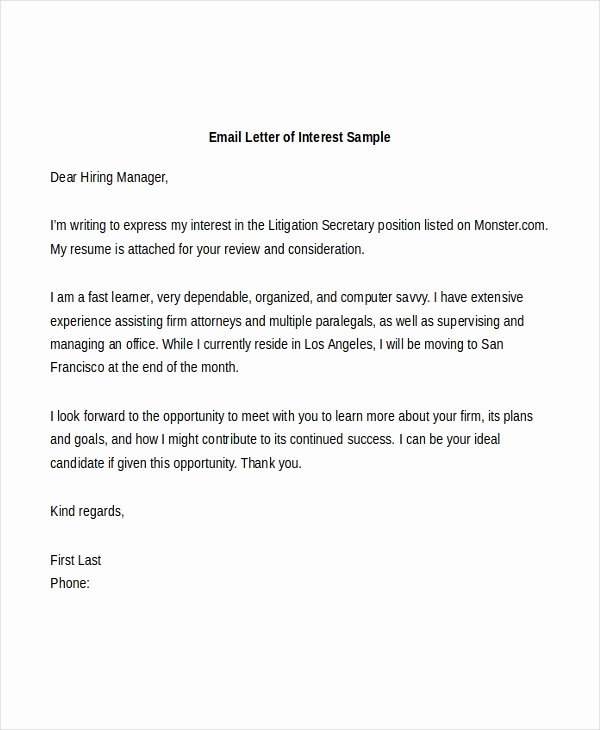 Format for Letter Of Interest Awesome Free 8 Sample Letter Of Interest forms In Pdf
