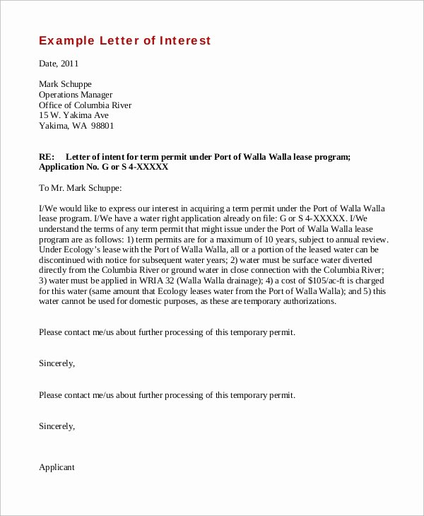 Format for Letter Of Interest Lovely Sample Letter Of Interest 8 Examples In Word Pdf