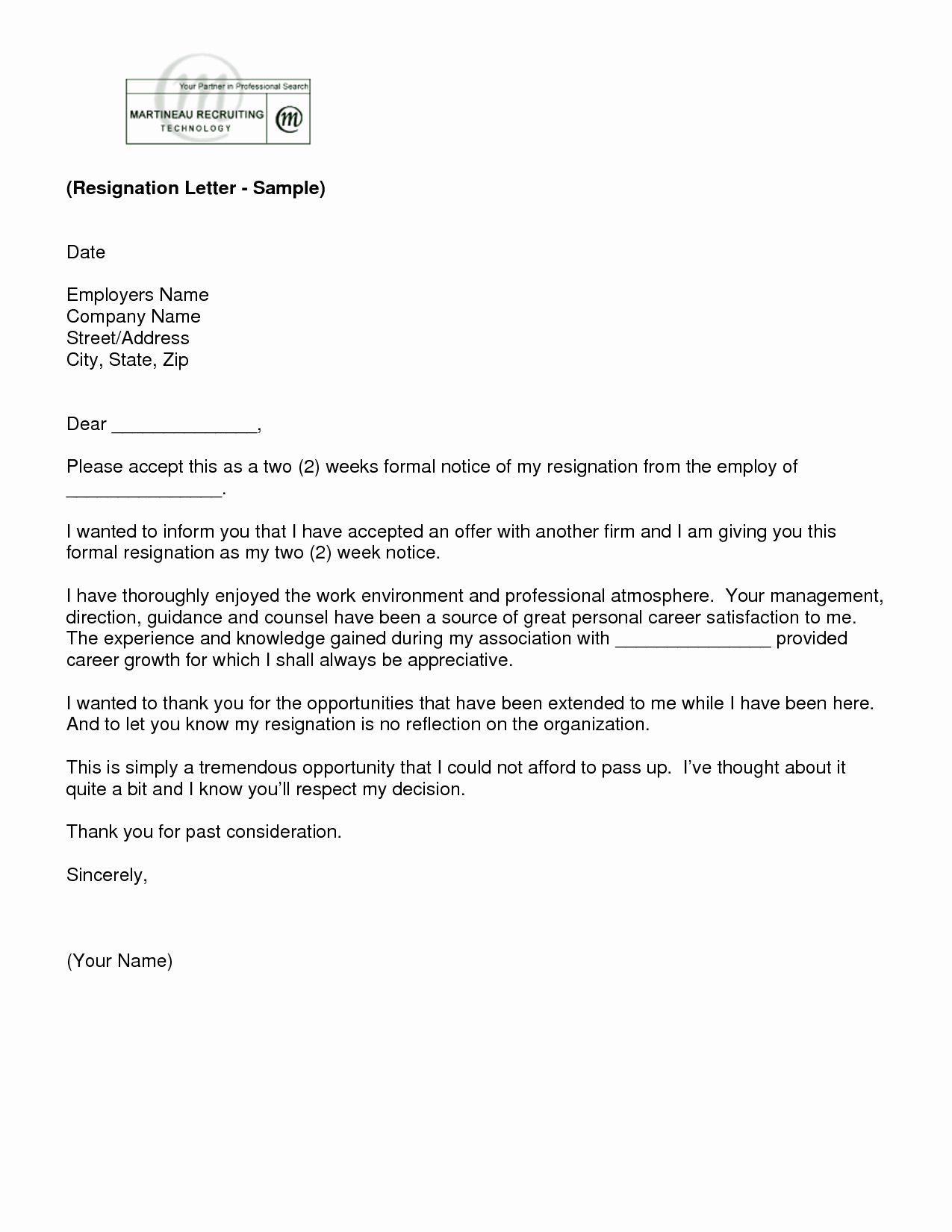Format for Resignation Letter Best Of Letter Of Resignation 2 Weeks Notice Template