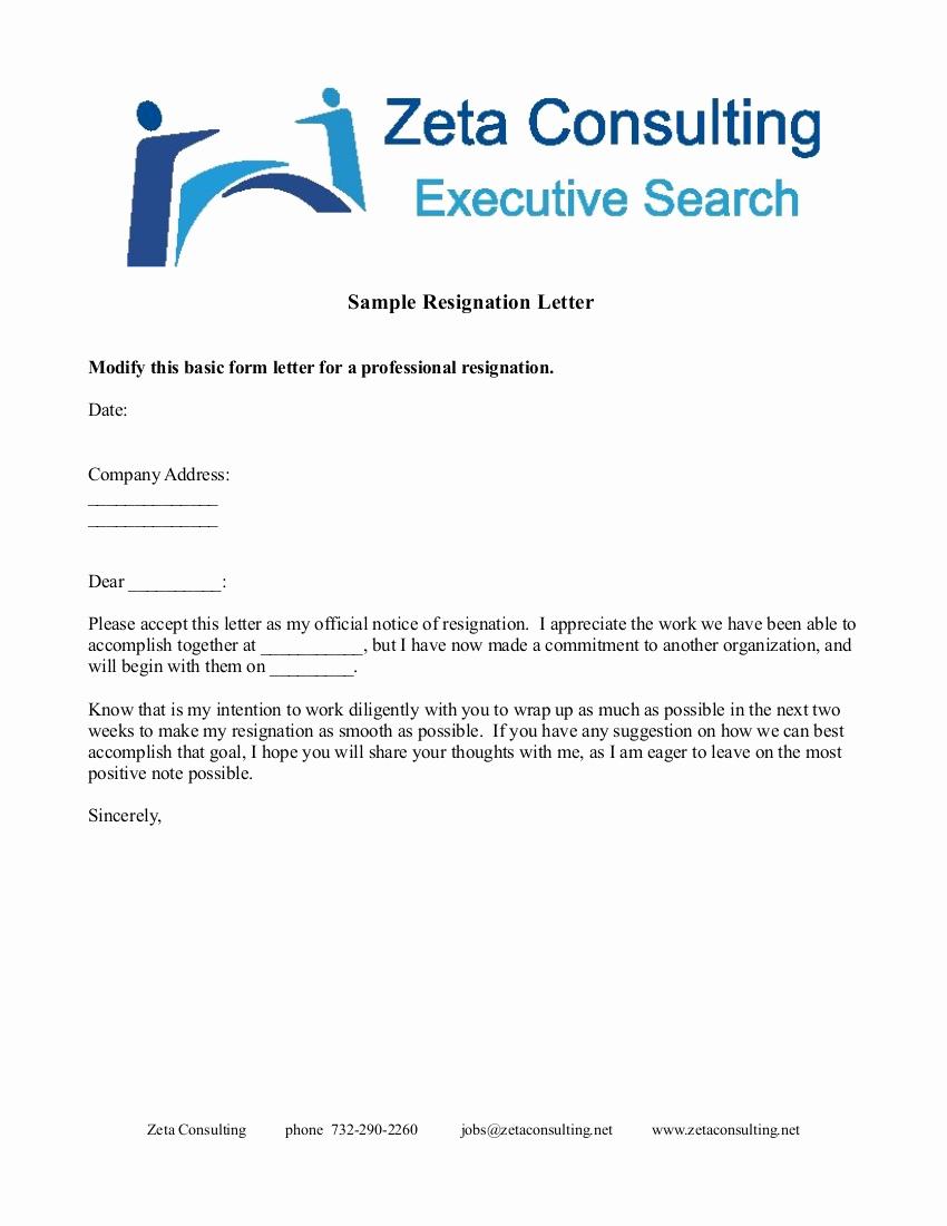 Format for Resignation Letter Elegant 7 Short Resignation Letter Examples In Pdf