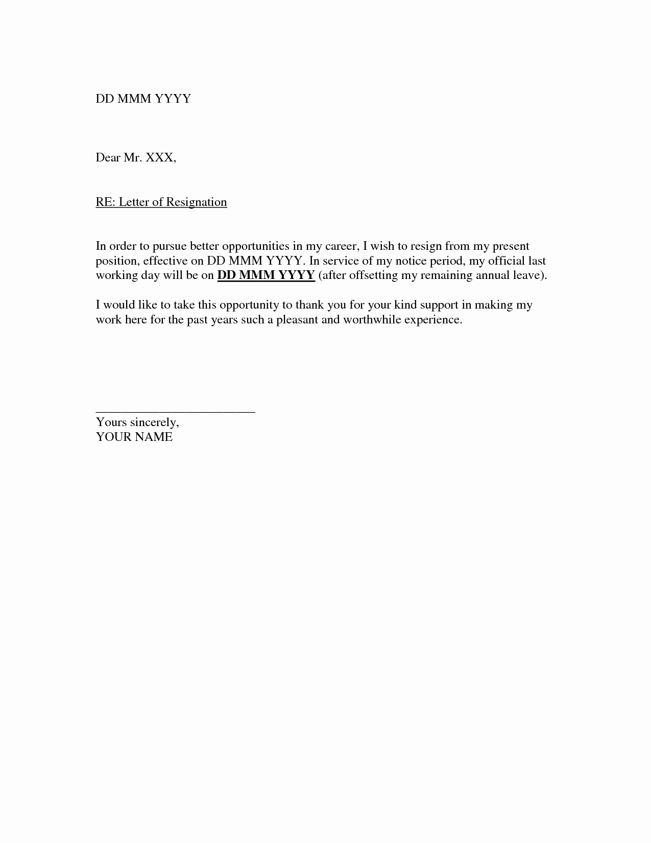 Format for Resignation Letter Fresh Free Writing Letter Of Resignation Example