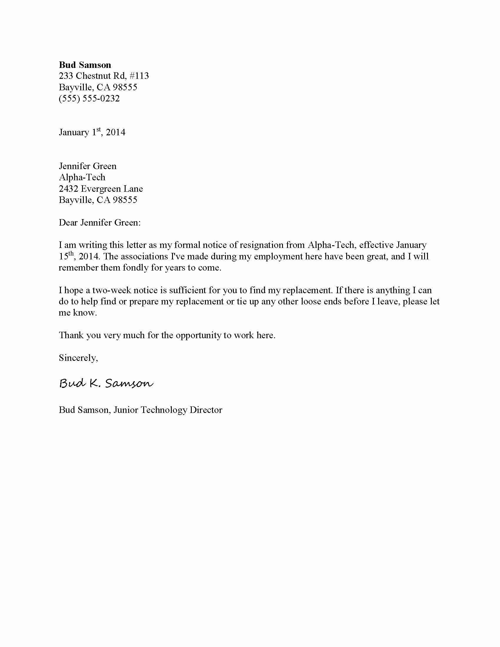 Format for Resignation Letter New Resignation Letter