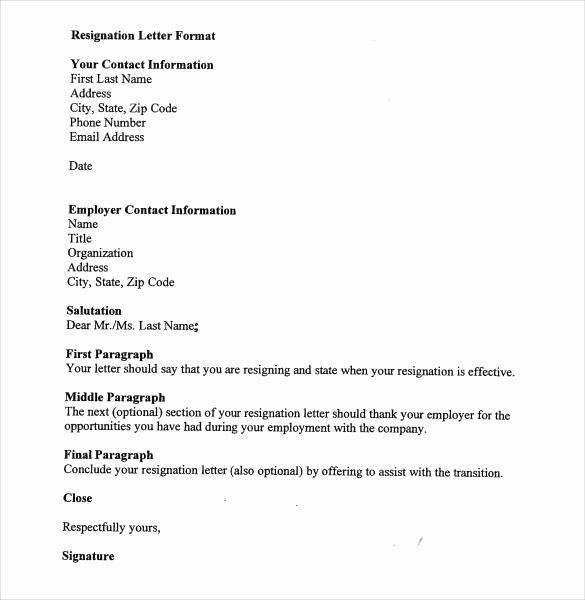 Format for Resignation Letter Unique 39 Simple Resignation Letter Templates Pdf Doc