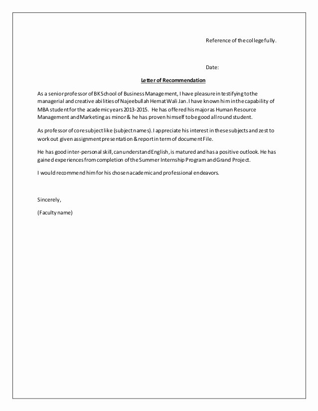 Formats for Letters Of Recommendation Beautiful Re Mendation Letter format