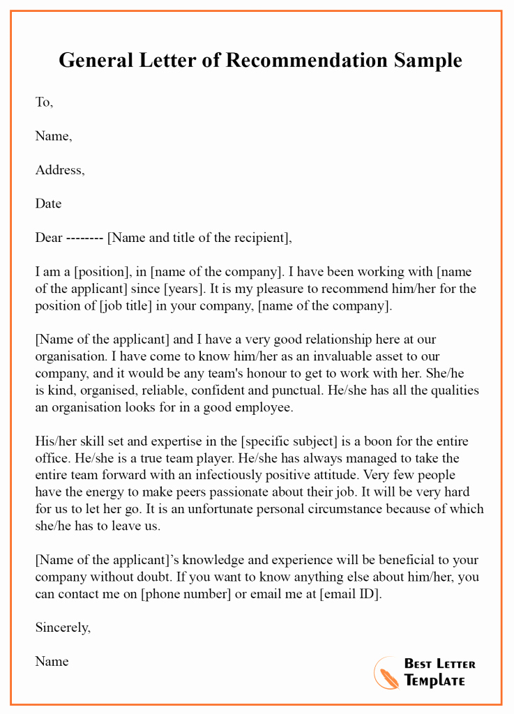 Formats for Letters Of Recommendation Inspirational 12 Free Re Mendation Letter – Sample & Example