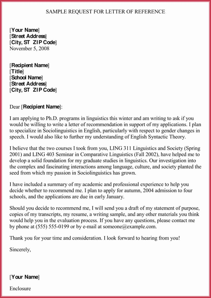 Formats for Letters Of Recommendation Inspirational formal Reference Letter format 8 Sample Letters and