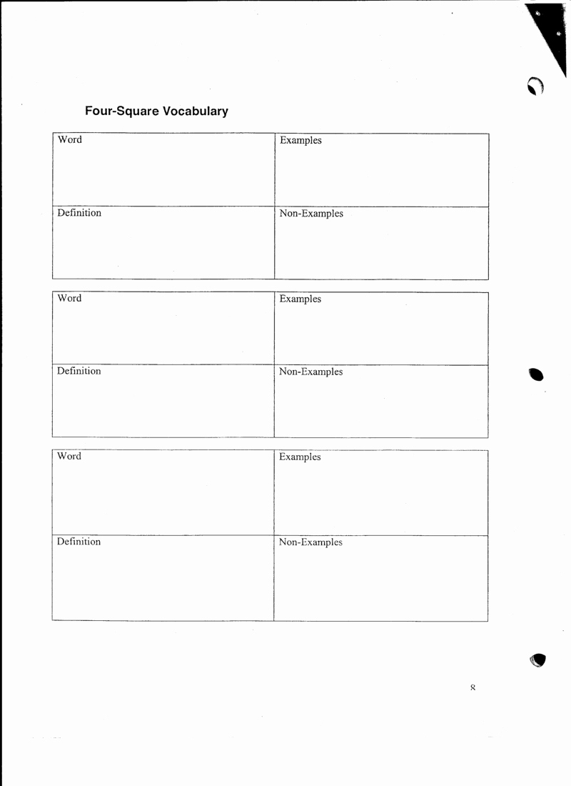Four Square Writing Template Printable Awesome 28 Of Vocab Four Square Template