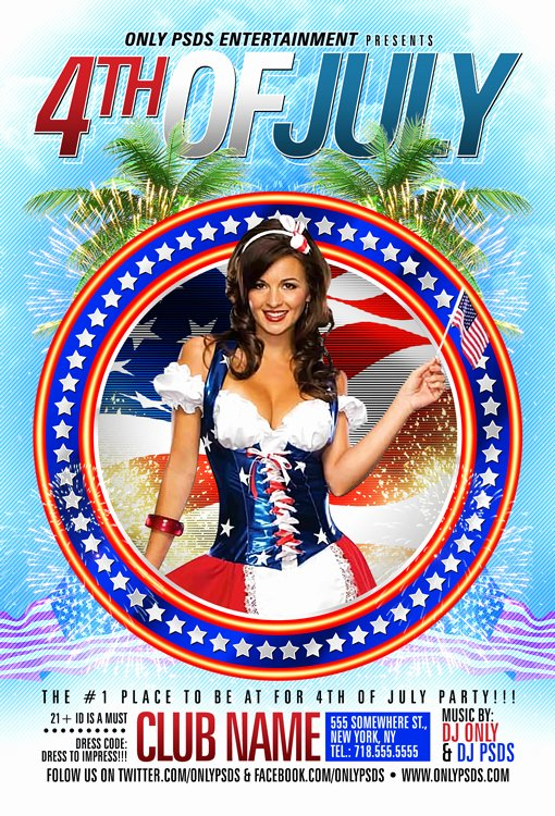 Fourth Of July Flyer Template Awesome 4th Of July Party Flyer Template