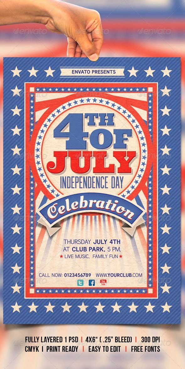 Fourth Of July Flyer Template Elegant 4th Of July