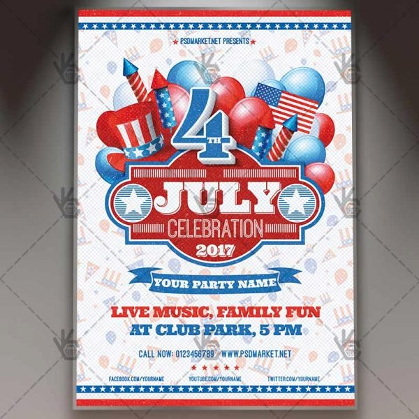 Fourth Of July Flyer Template Lovely 4th Of July Celebration Premium Flyer Psd Template