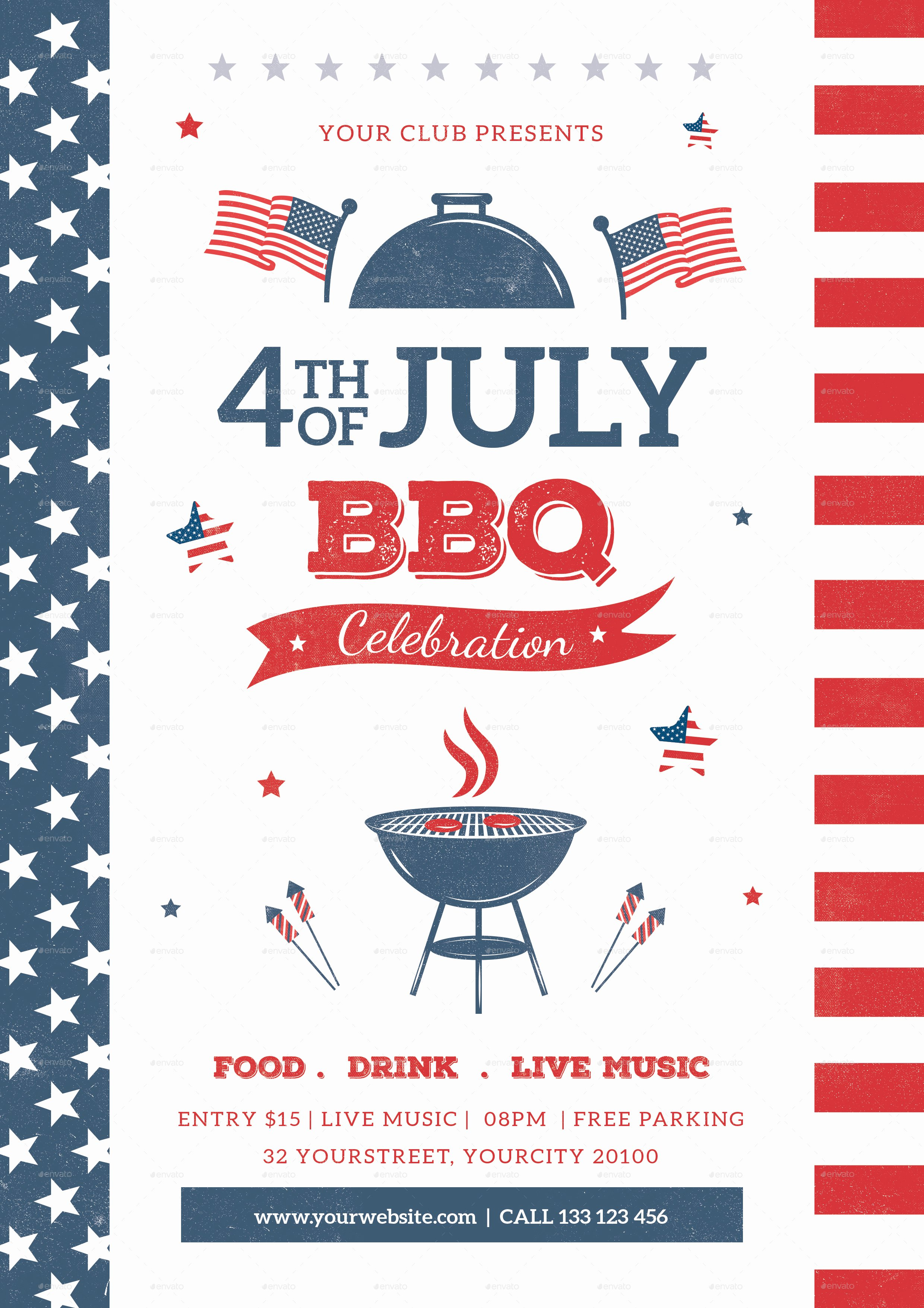 Fourth Of July Flyer Template Luxury 4th July Bbq Flyer by Infinite