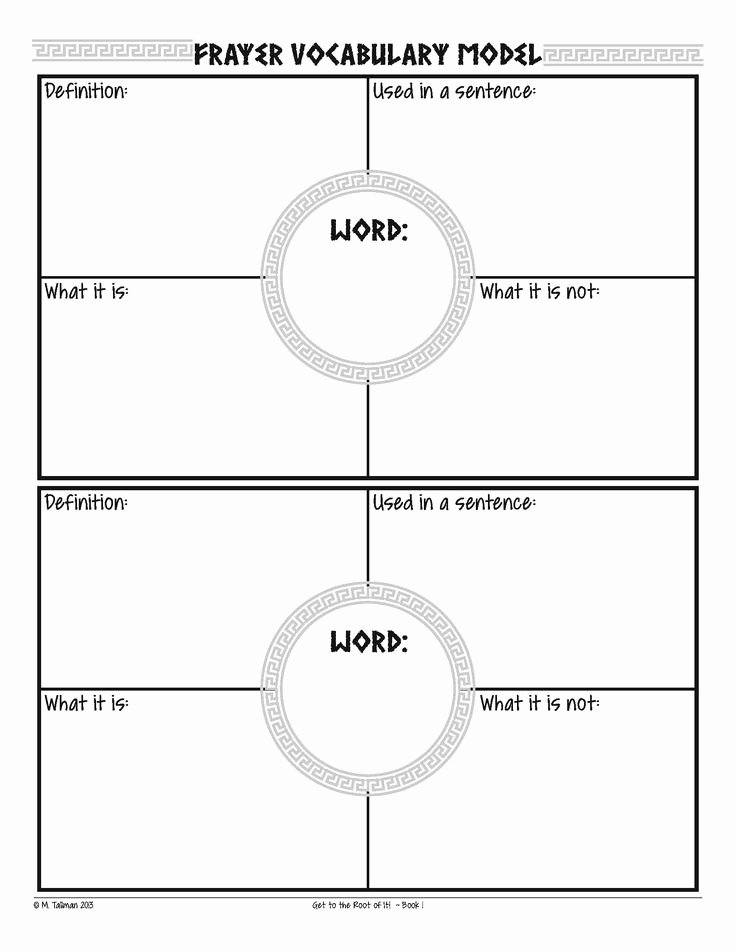 Frayer Model Template Word Lovely Free Frayer Model Vocabulary Graphic organizers