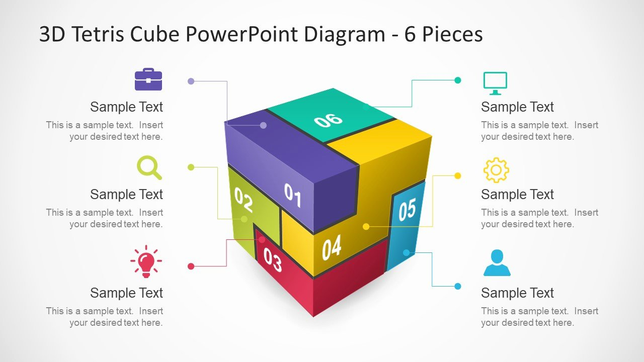 Free 3d Powerpoint Templates Beautiful 6 Pieces 3d Tetris Cube Powerpoint Diagram Slidemodel