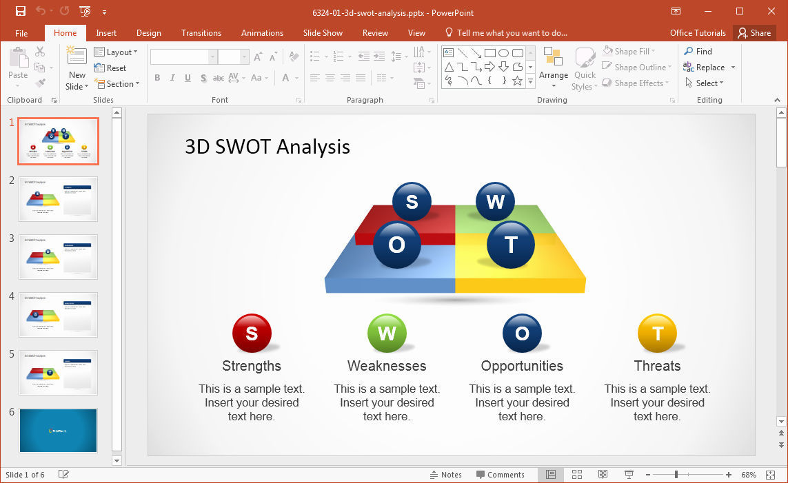 Free 3d Powerpoint Templates New 3d Swot Powerpoint Template
