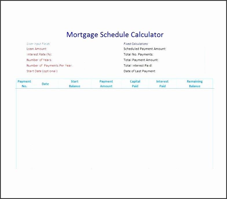 Free Amortization Schedule Template Beautiful 8 Printable Amortization Schedule Templates