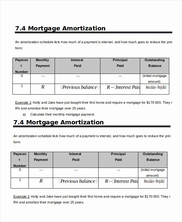Free Amortization Schedule Template Beautiful Amortization Schedule Template 8 Free Word Excel
