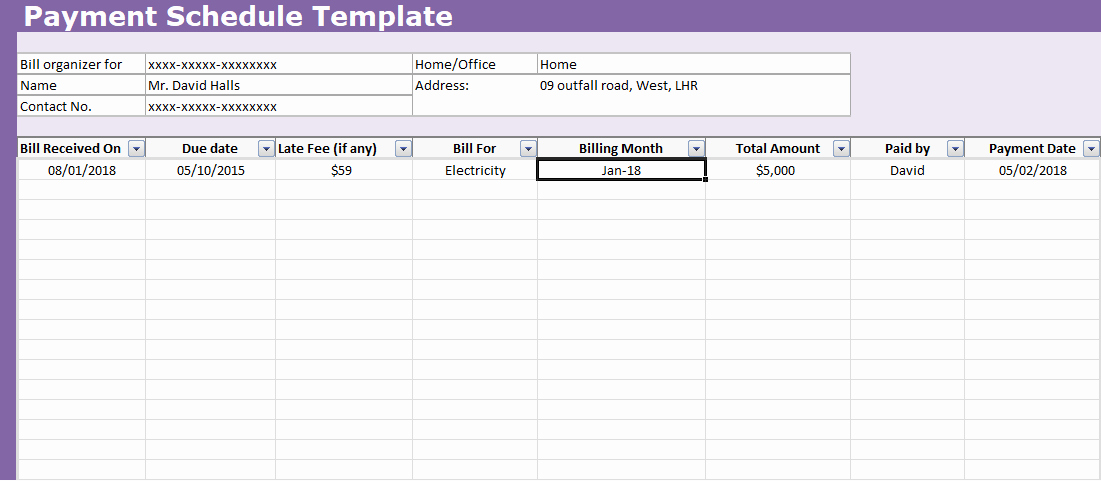 Free Amortization Schedule Template Unique now Payment Schedule Template Excel for All Types Of