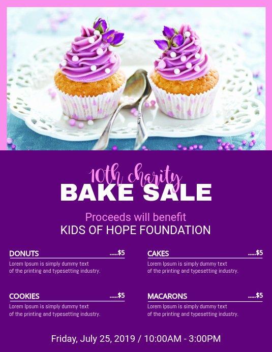 Free Bake Sale Template New Purple Bake Sale Price List Template