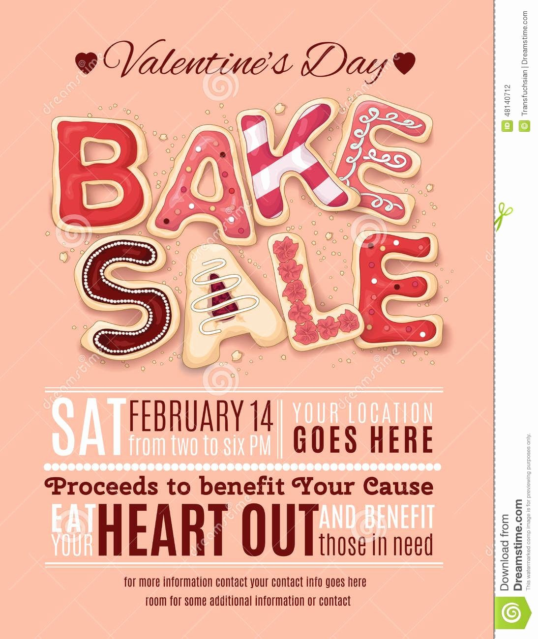 Free Bake Sale Template Unique Valentines Day Bake Sale Flyer Template Download From
