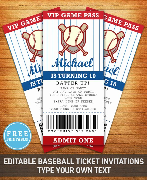 Free Baseball Ticket Template Beautiful Baseball Birthday Party Invitation Free Printable M Gulin