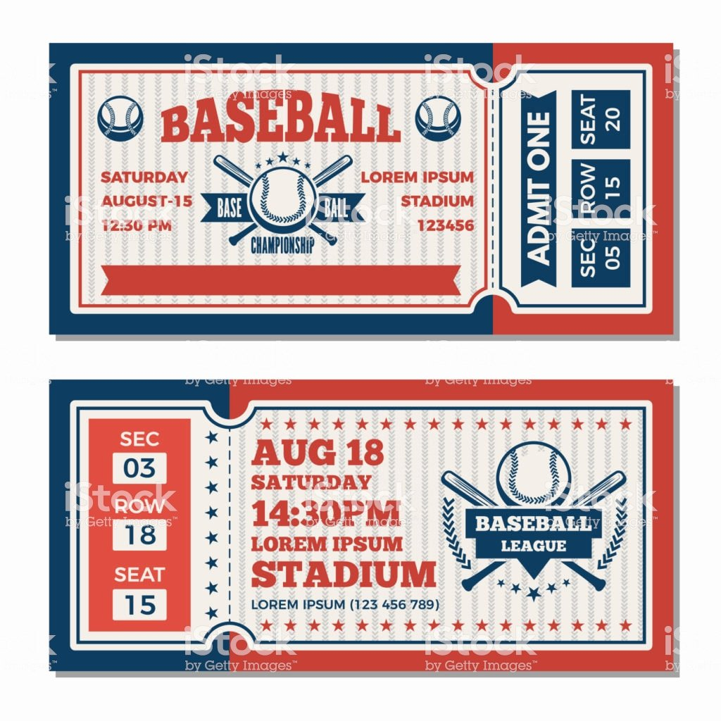 Free Baseball Ticket Template Fresh Tickets Design Template at Baseball tournament Stock