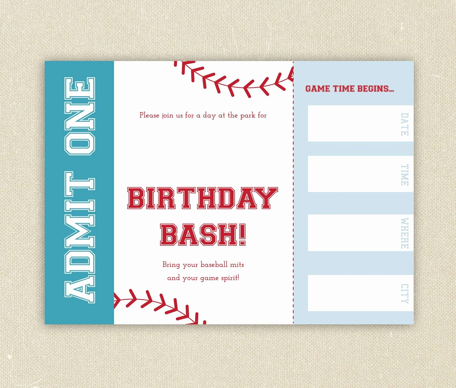Free Baseball Ticket Template Inspirational Free Baseball Ticket Birthday Invitation