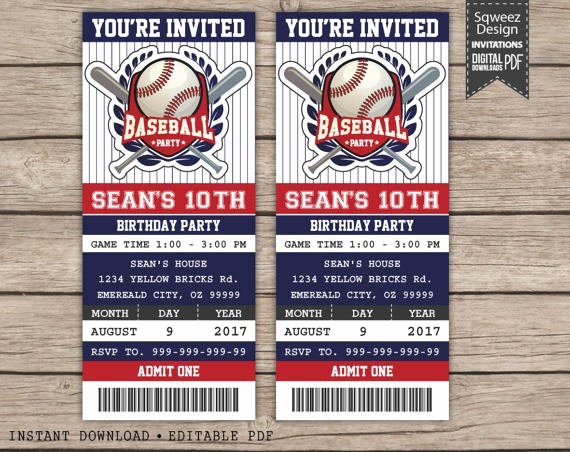 Free Baseball Ticket Template Luxury Baseball Birthday Invitation Baseball Ticket Invitation