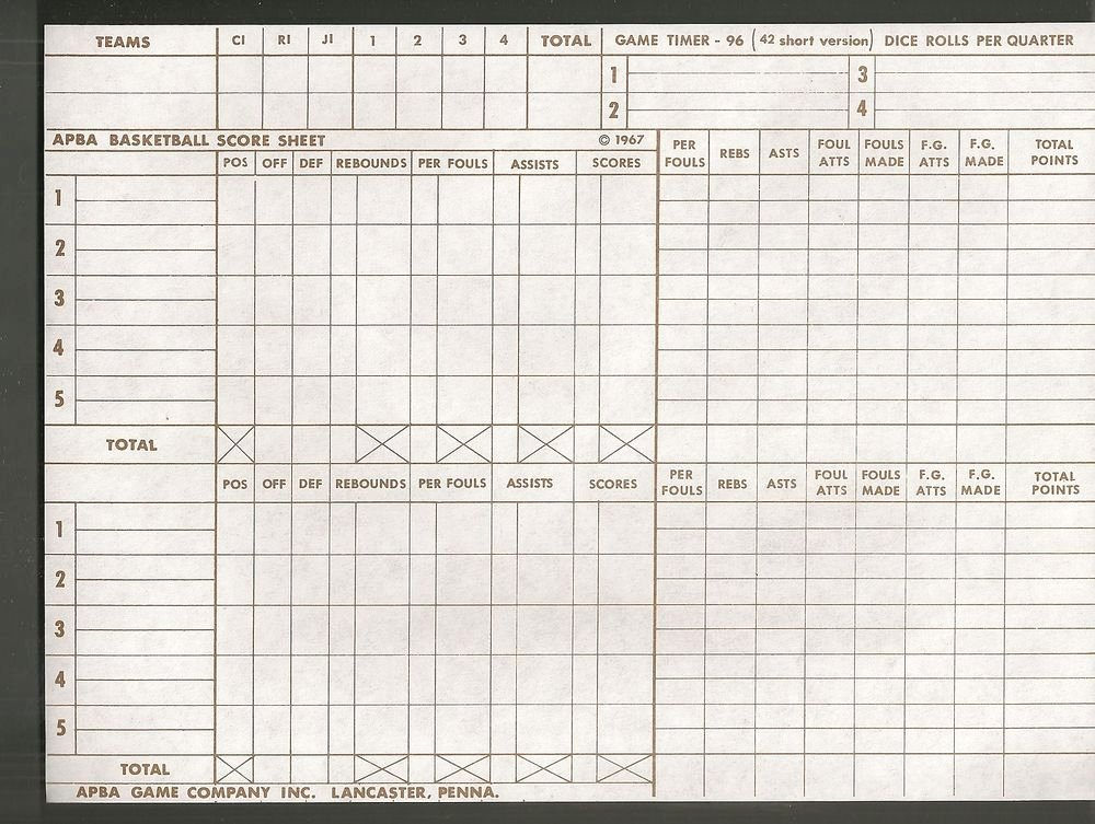 Free Basketball Score Sheets Fresh Vintage Apba Basketball Score Sheet Lot Of 5 original