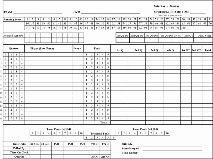 Free Basketball Score Sheets Inspirational 3 Basketball Score Sheet Free Download