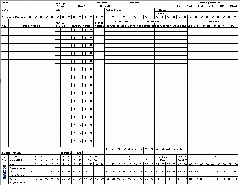 Free Basketball Score Sheets Lovely 4 Free Basketball Score Sheet Samples Small Business