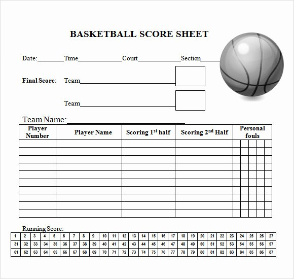 Free Basketball Score Sheets Lovely Sample Basketball Score Sheet 9 Documents In Pdf Word