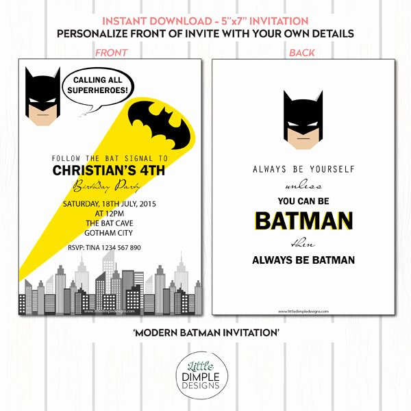 Free Batman Invitation Template Inspirational Batman Invitation Template