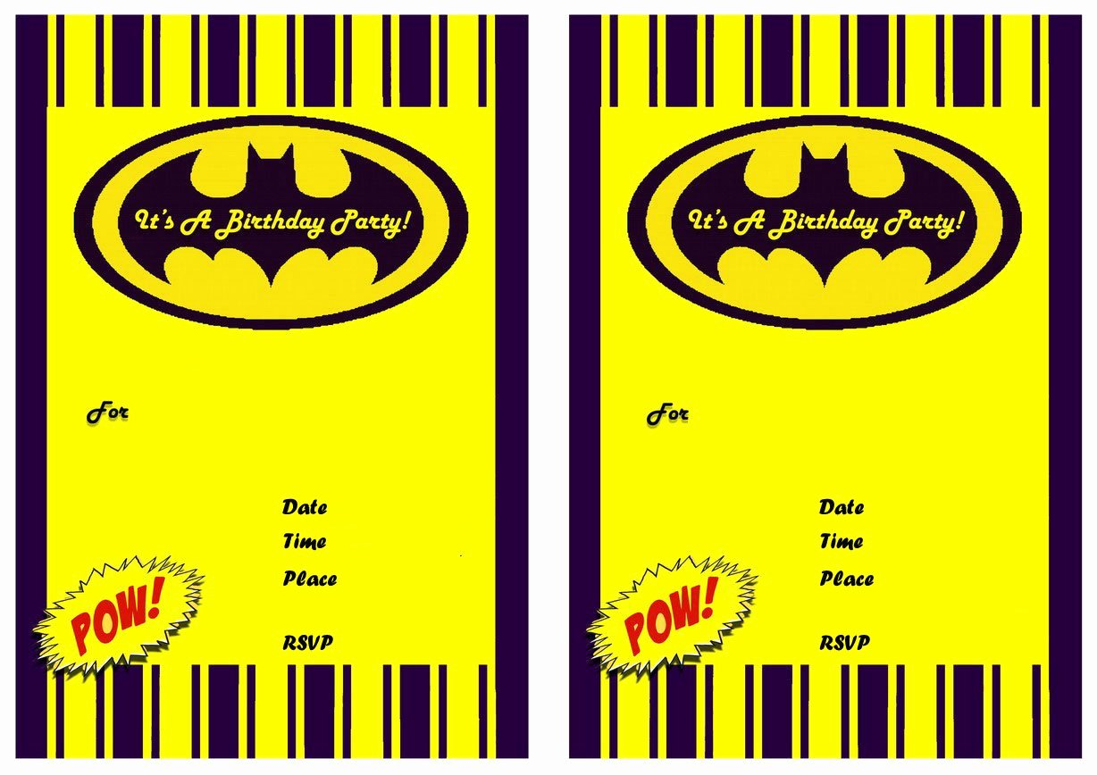 Free Batman Invitation Template Luxury Free Batman Invitation Blanks