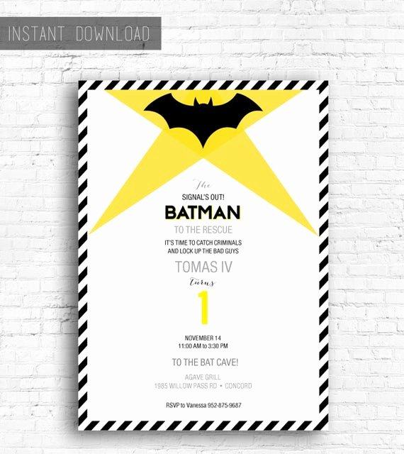 Free Batman Invitation Template New Batman Birthday Invitation Printable Instant Download