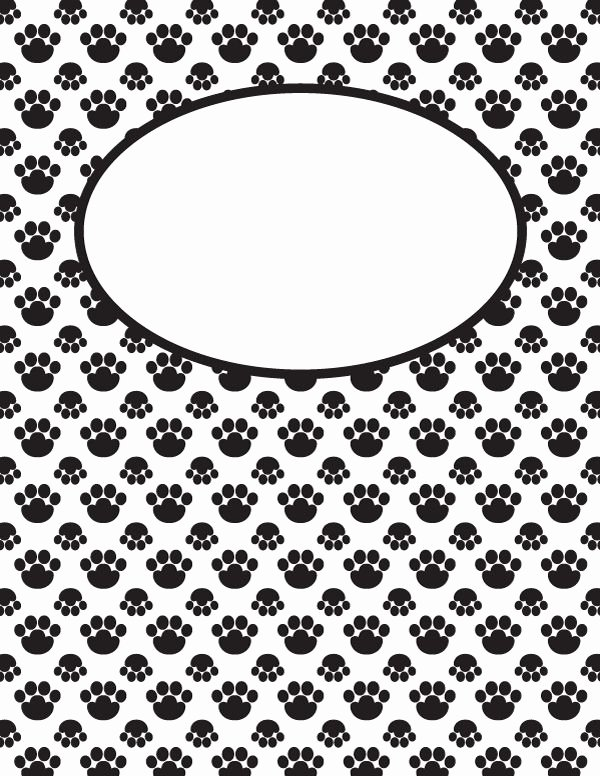 Free Binder Cover Printables Unique Free Printable Black and White Paw Print Binder Cover