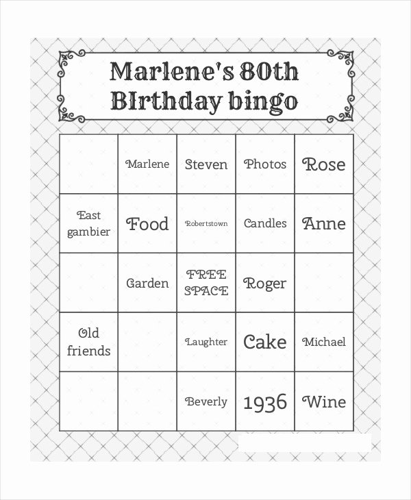 Free Bingo Card Templates Printable Elegant Free Printable Bingo Card 7 Free Pdf Documents Download