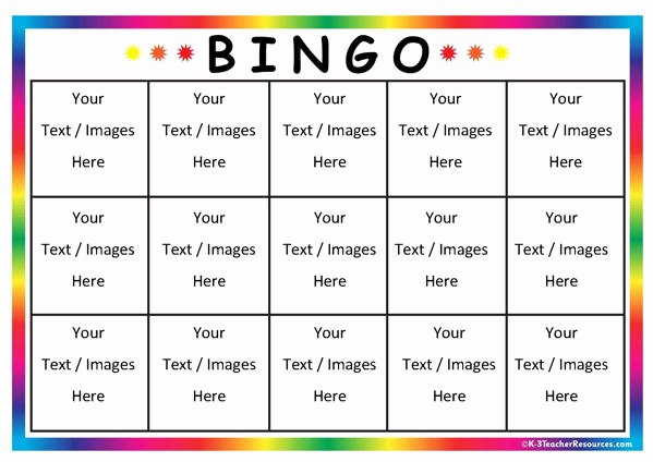 Free Bingo Card Templates Printable Inspirational Editable Bingo Card Templates K 3 Teacher Resources