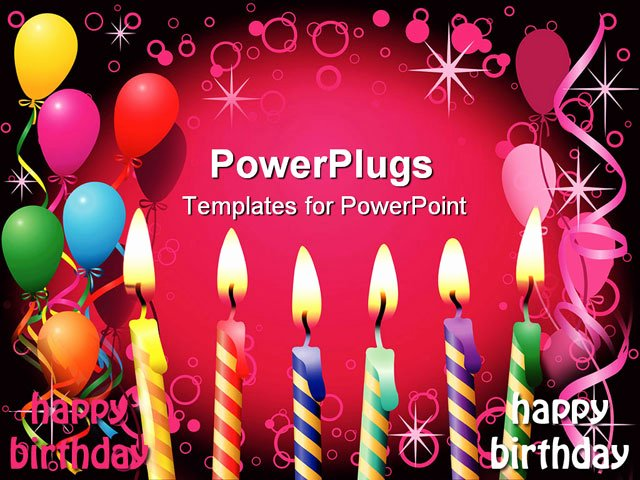 Free Birthday Powerpoint Templates Unique Powerpoint Template Six Lit Birthday Candles Balloons