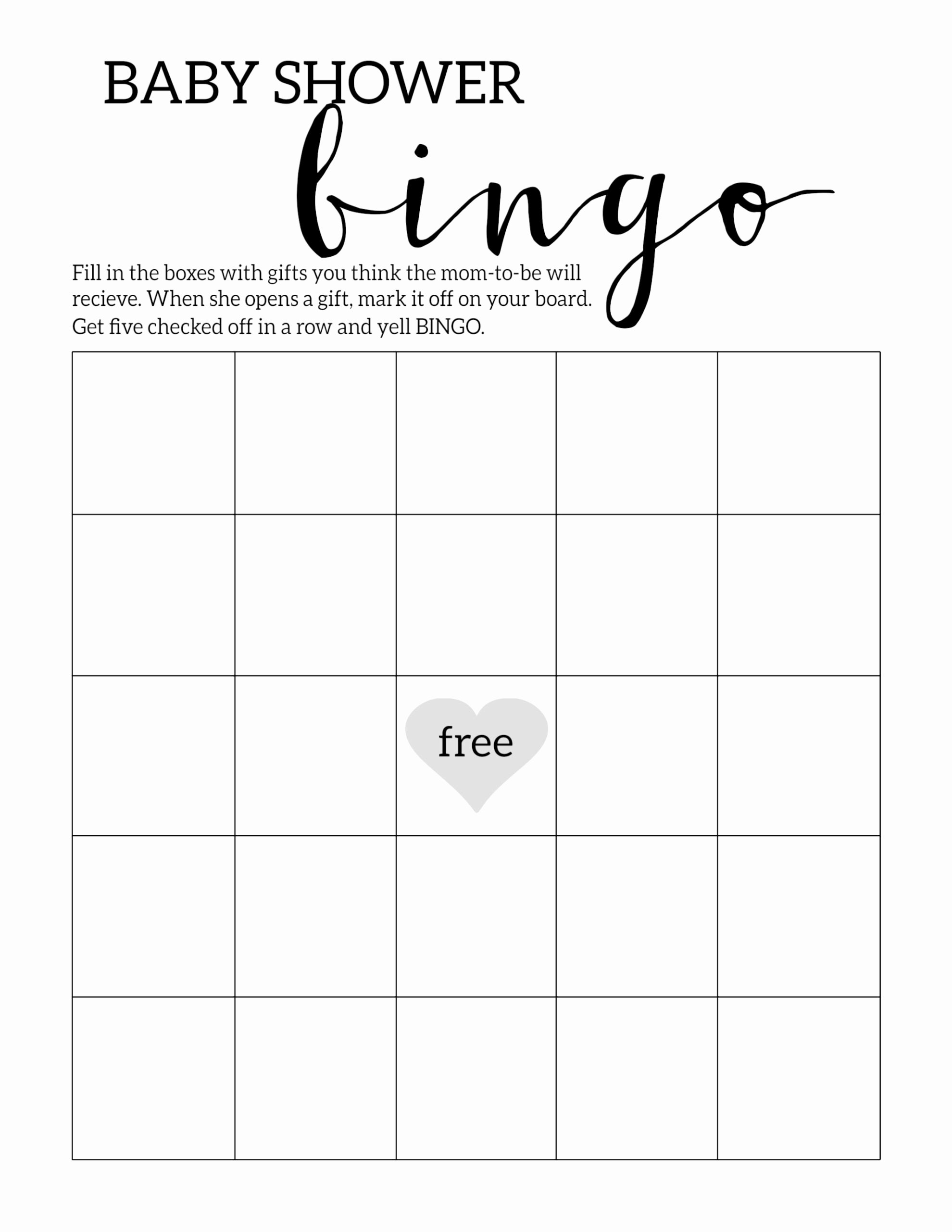 Free Blank Bingo Template Lovely Baby Shower Bingo Printable Cards Template Paper Trail