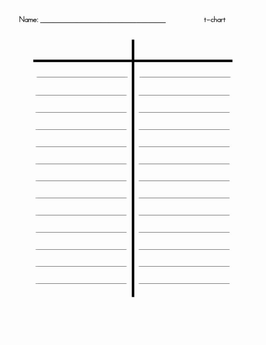 Free Blank Chart Templates Elegant 30 Printable T Chart Templates & Examples Template Archive