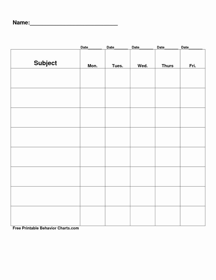 Free Blank Chart Templates Elegant Free Printable Blank Charts